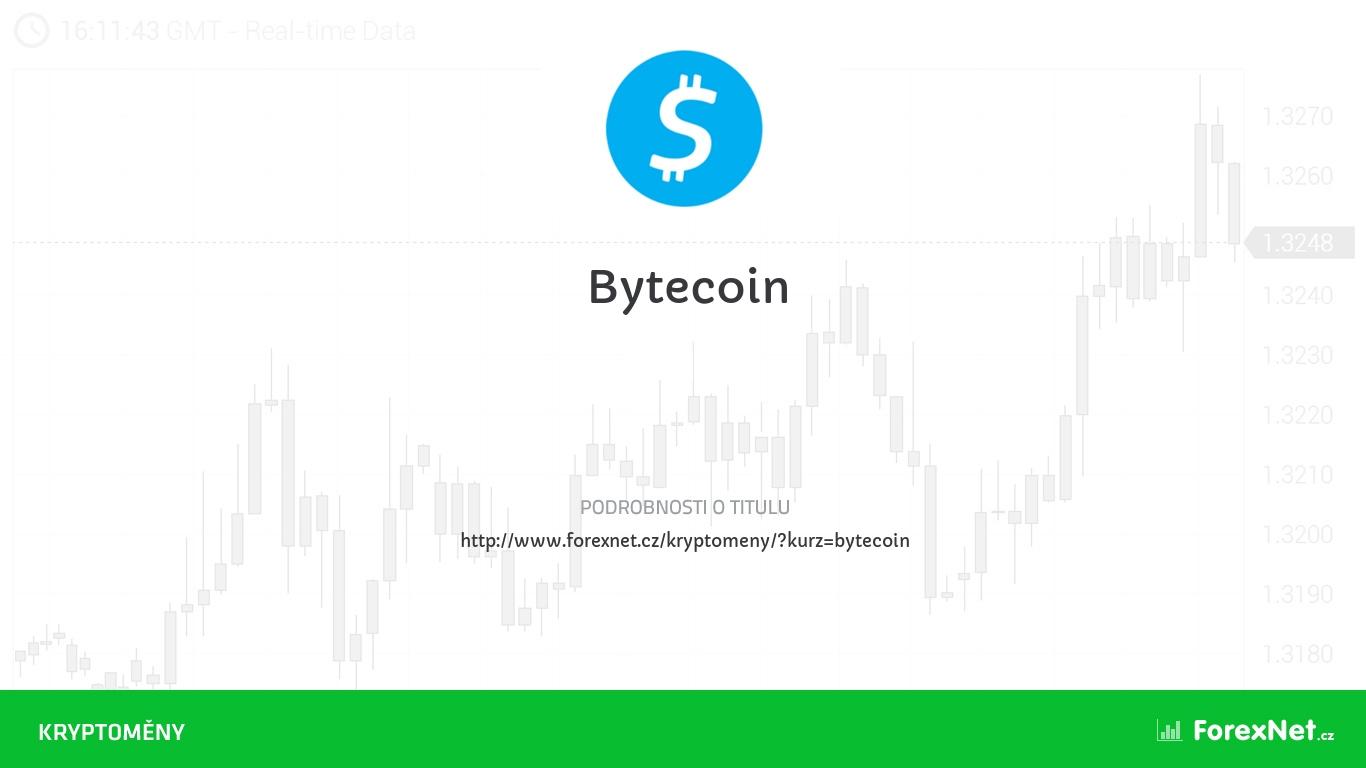 Kurz Bytecoin aktuálně, online, diskuze, vývoj, ceny, graf, doporučení