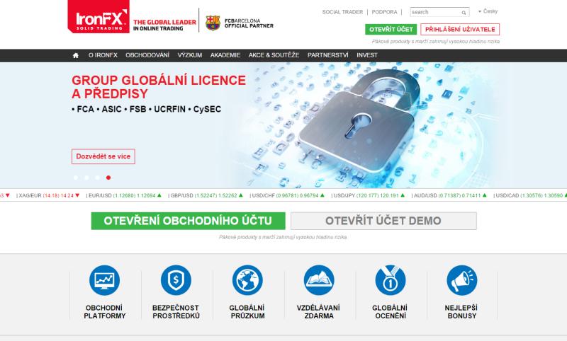 Recenze IronFX - webová stránka brokera