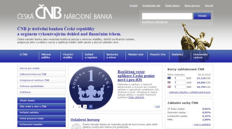 Srovnání forex brokerů - webové stránky ČNB