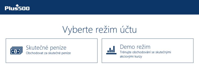 Výběr typu účtu u brokera Plus500 - forex demo účet a reálný účet (platforma Windows)