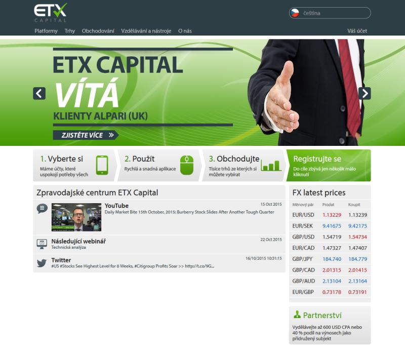 Web brokera EtxCapital.cz