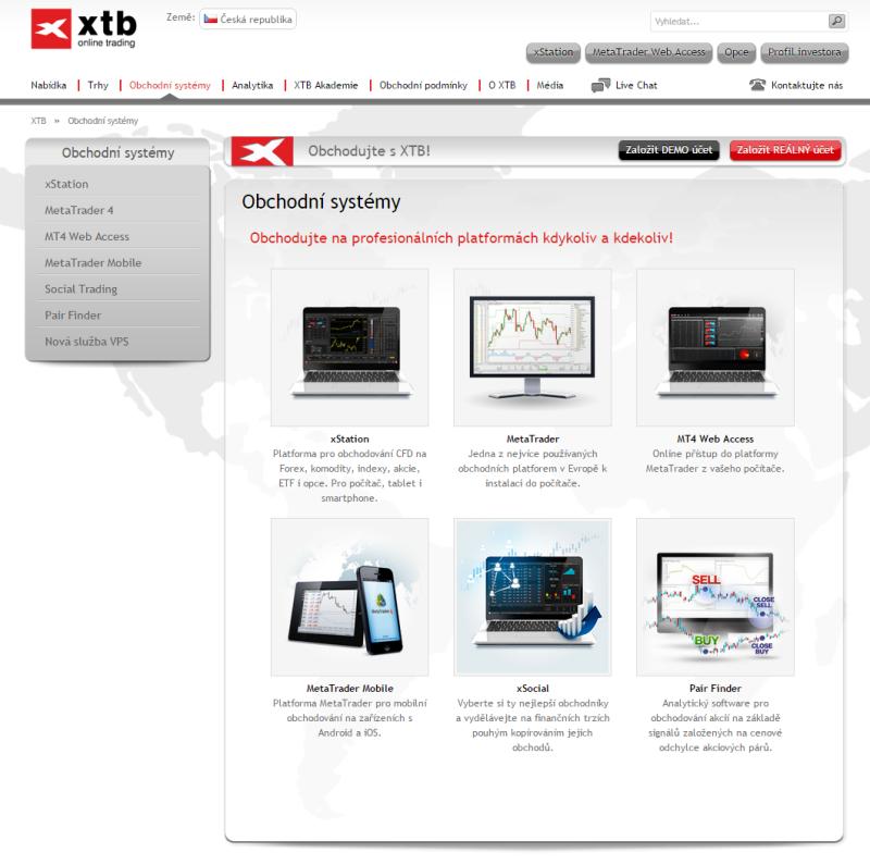 XTB - platformy pro obchodování