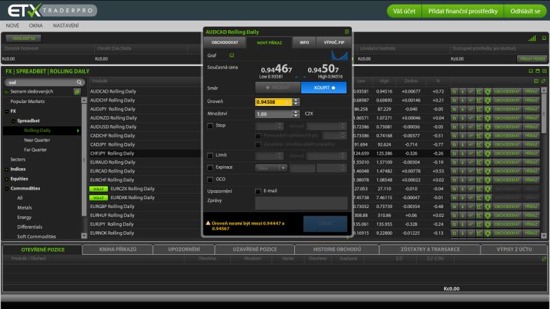 Zadávání příkazu na platformě ETX Capital TraderPro
