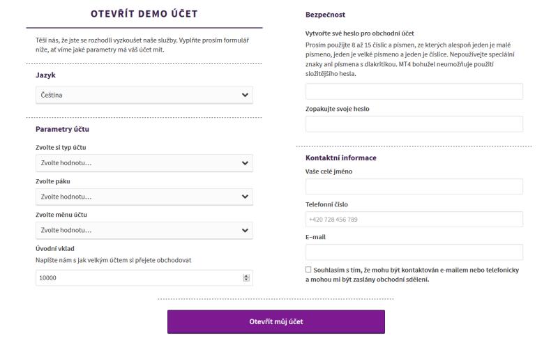 Axiory demo účet - registrační formulář