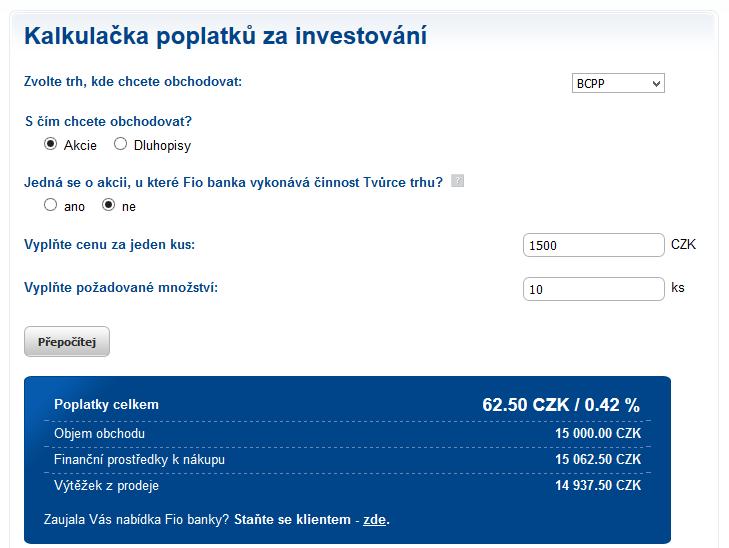 Kalkulačka poplatků na webu brokera FIO
