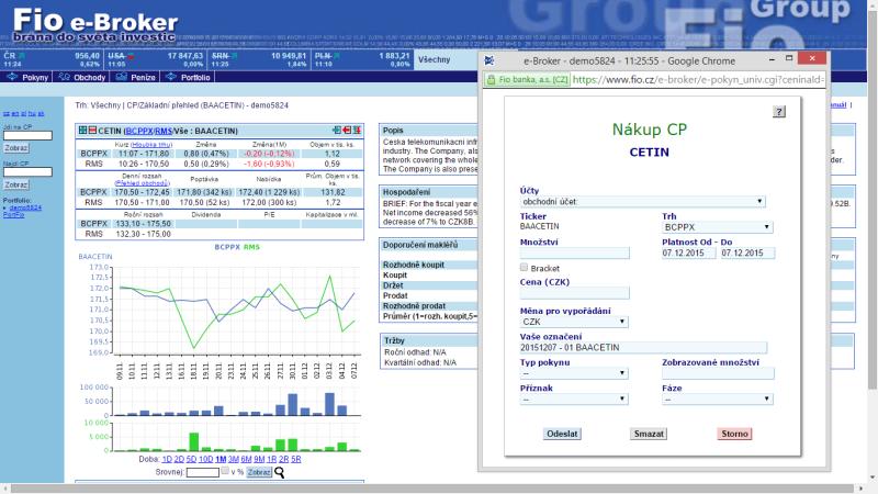 Nákup akcií u FIO (platforma e-broker)