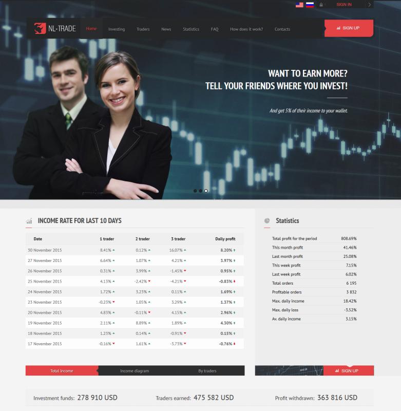 Nl-trade.net - úvodní stránka projektu
