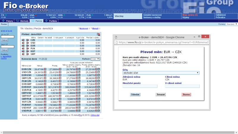 Obchodní platforma FIO e-Broker