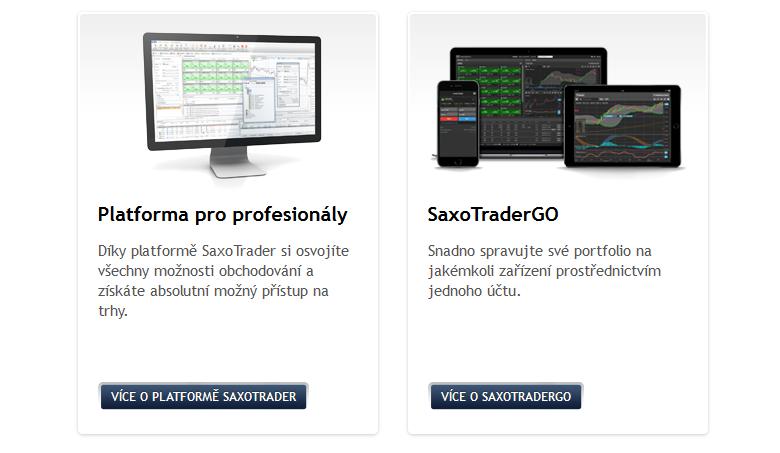 Obchodní platformy v nabídce brokera