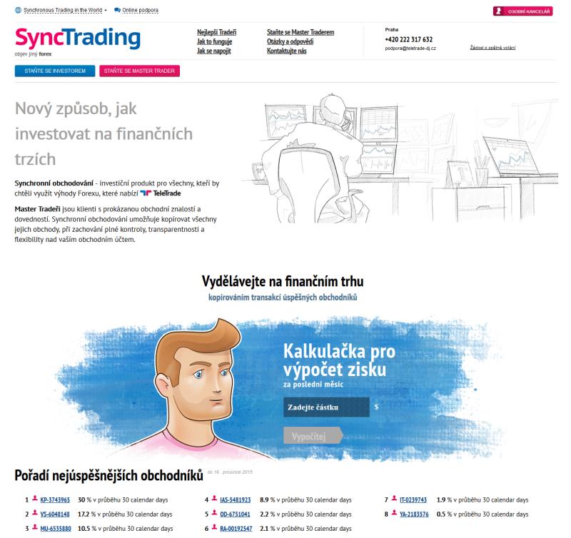 SyncTrading je portál brokera TeleTrade zaměřený na synchronní obchodování
