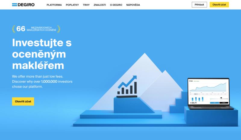 Webová stránka brokera DeGiro