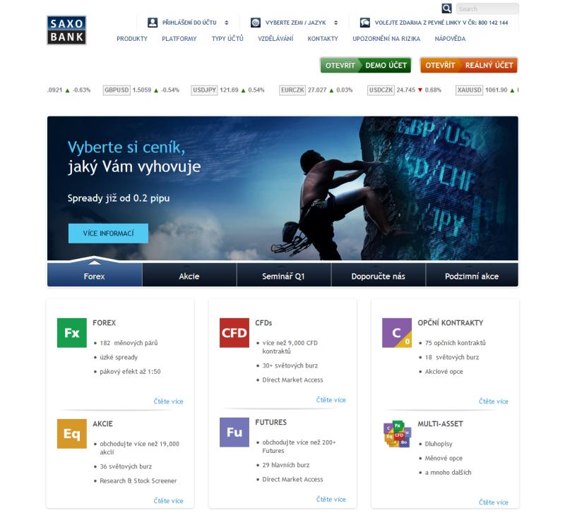 Webová stránka brokera SaxoBank.com