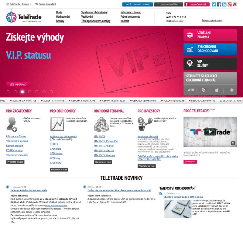 Webová stránka brokera Teletrade-dj.cz
