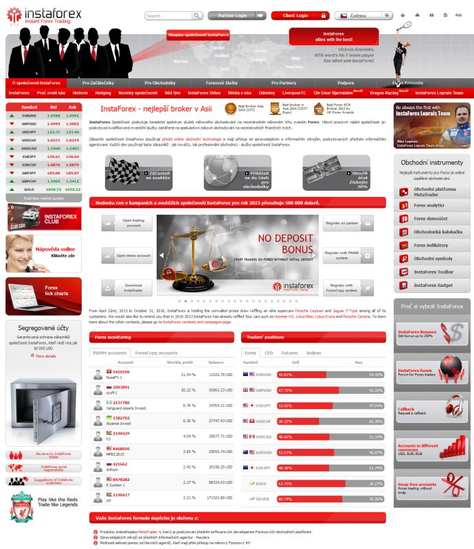 Webová stránka brokera www.instaforex.com