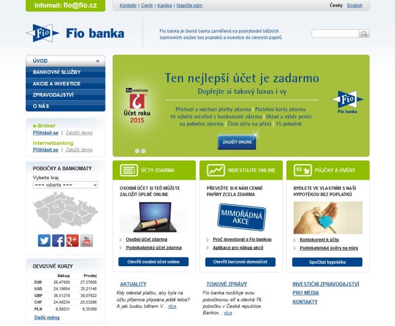 Webová stránka Fio.cz