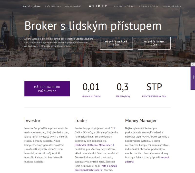 www.Axiory.cz - webová stránka brokera