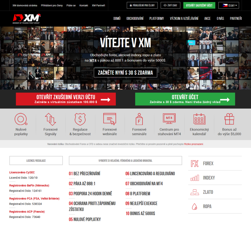 www.xm.com - webová stránka brokera