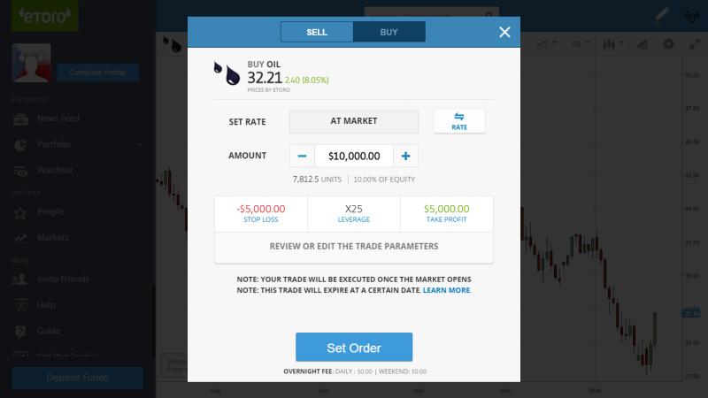 eToro demo účet - zadávání obchodního příkazu