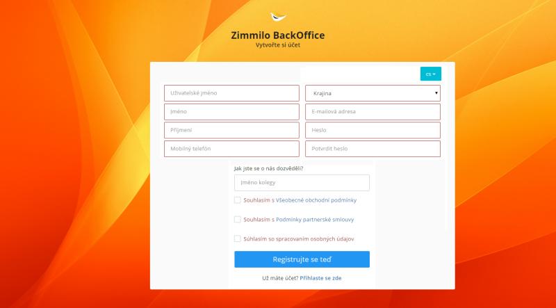 Registrační formulář na webu zimmilo.com