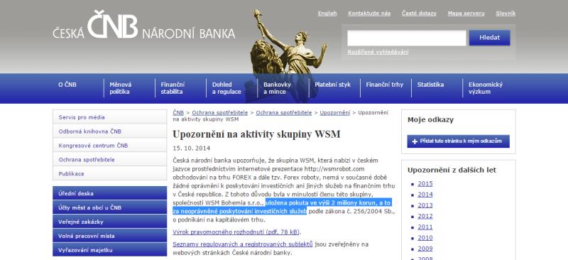 Upozornění na aktivity WSM na webu CNB.cz