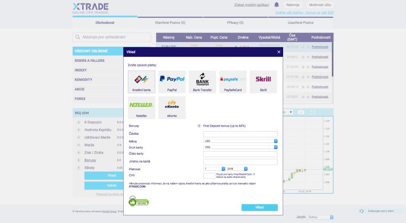 Metody financování obchodního účtu xTRADE