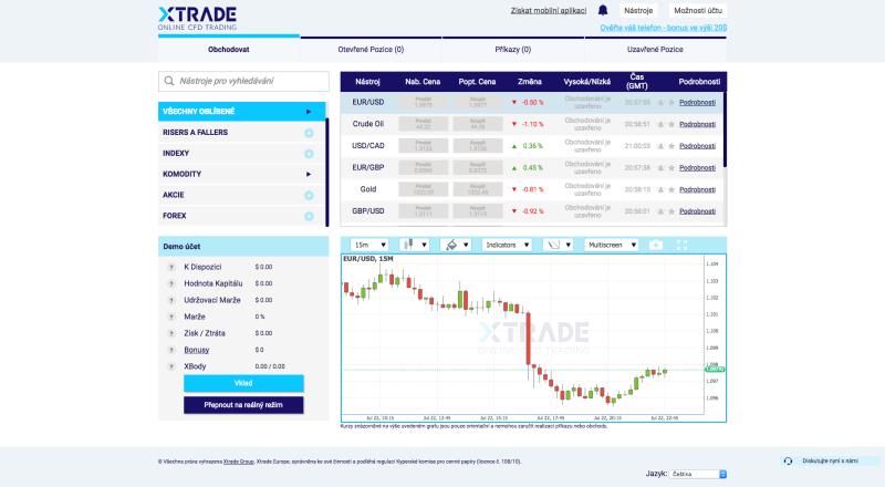 Webová platforma brokera xTRADE