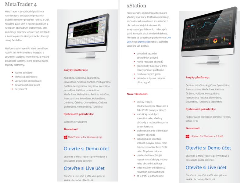 Srovnání platforem xStation a MT4