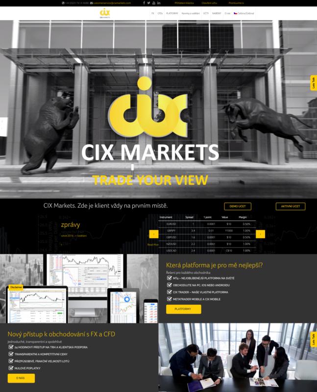 CIX Markets - webová stránka brokera
