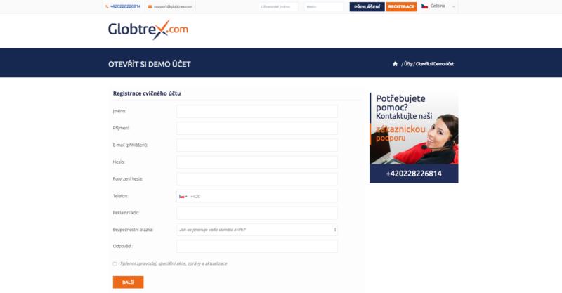 Demo účet - registrační formulář