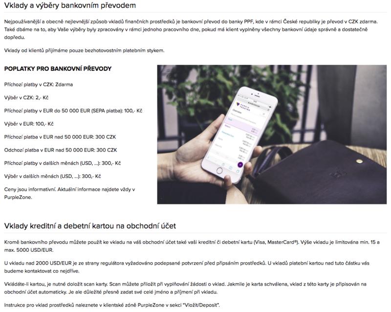 Informace o poplatcích na webu brokera