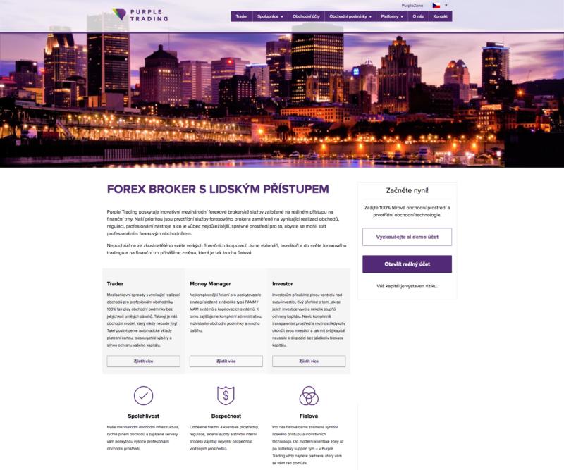 Purple Trading - webová stránka společnosti