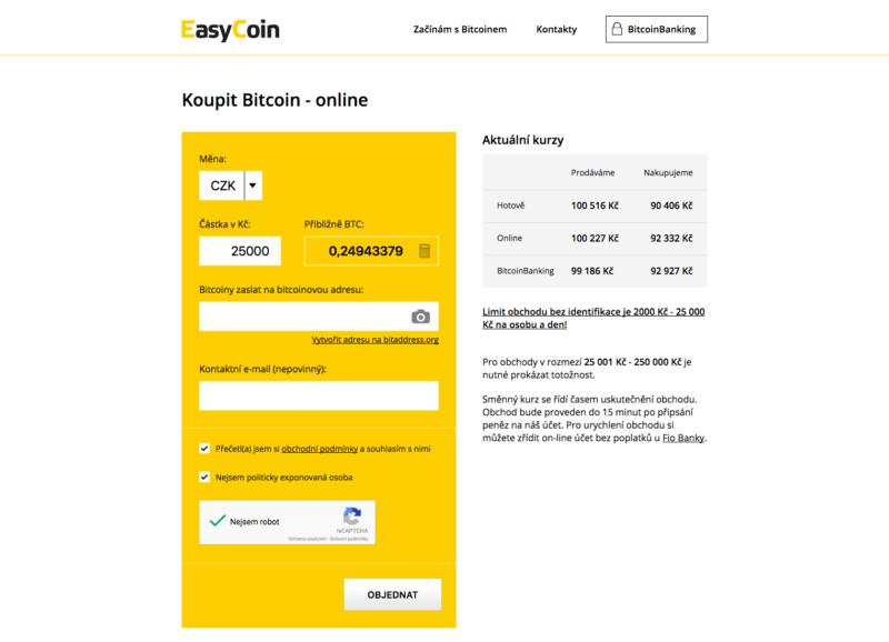 Bitcoin nákup u EasyCoin