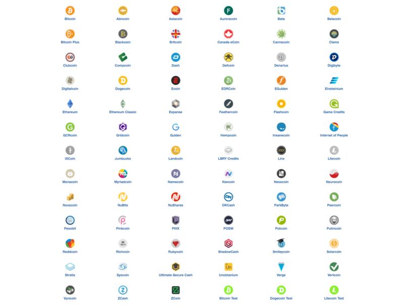Coinomi podporuje kromě Litecoinu i další kryptoměny
